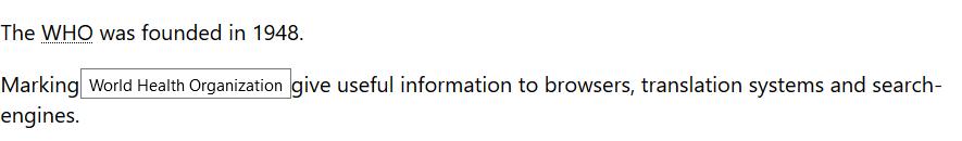 تگ abbr در html