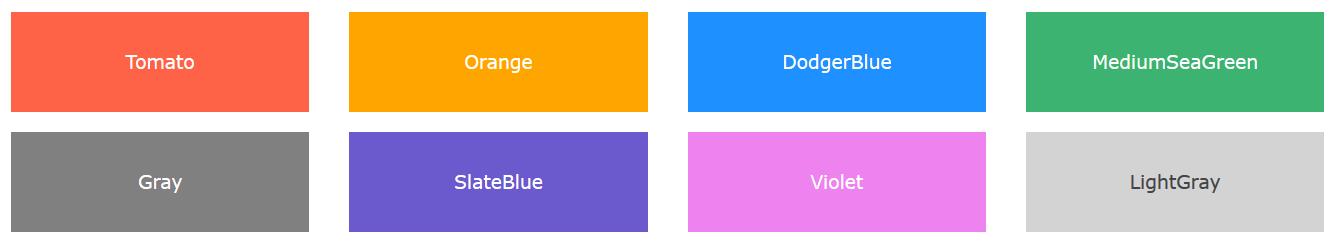 رنگ ها در html